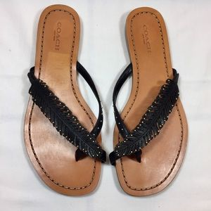 COACH Deni Black Leather Feather Stud Sandals